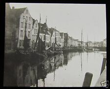 Glass Magic Lantern Slide UNIDENTIFIED HARBOUR POSSIBLY HOLLAND OR BELGIUM  L90