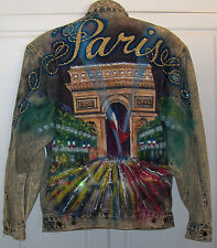 Vintage PARIS France Tony Alamo Denim Jean Jacket Arc de Triomphe Large