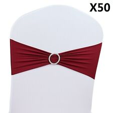 50 Pcs Wedding Chair Cover Band With Buckle Slider Sashes Bow Decoration Stretch