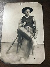 Armed Cowboy Wearing Fringed Leather TinType C320NP