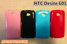 BLUE HTC Desire 601 Slim Soft Silicone Rubber Gel Back Cover Case