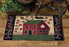 New Primitive Country SALTBOX HOUSE CROW Star Heart Wool Hooked Rug Floor Mat