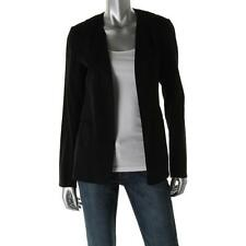 Theory 2073 Womens Isita Black Linen Collarless Open-Front Blazer Jacket 8 BHFO