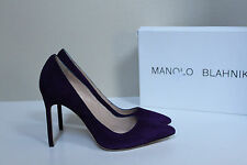 New sz 8 / 38 Manolo Blahnik BB Eggplant Purple Suede Pointed Pump Classic Shoes