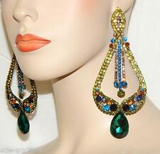 GLAMOROUS GREEN / MULTICOLOR RHINESTONE CRYSTAL CHANDELIER PARTY EARRINGS