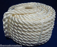 "White Twisted 3 Strand 3/8"" x 50' Premium HQ Marine ANCHOR LINE Boat Dock Rope"