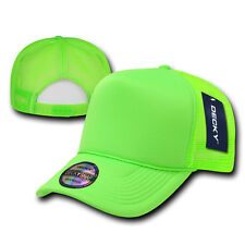 NEON GREEN TRUCKER HAT Plain Blank CURVE BILL Cap vtg retro mesh snapback party