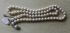 Vintage Synthetic Pearl Bead Necklace Sterling Silver Clasp with Rhinestones