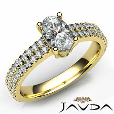 U Cut Prong Set Oval Diamond Engagement Ring GIA F VS1 18k Yellow Gold 1.22Ct