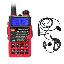 Baofeng UV-5RE Red Dual Band UHF/VHF 2 Way FM Ham Radio + UV-5R E Earpiece US