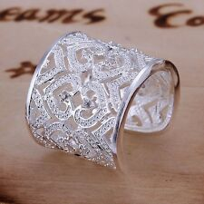 Men Women's Crystal Stainless Steel Hollow Love Heart Wedding Casual Sliver Ring