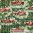 BonEful Fabric FQ Cotton Quilt Green Forest Tree Old World Truck Antique US Flag