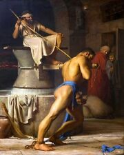 SAMSON GRINDING FLOUR MILL OF PHILISTINES PAINTING BIBLE ART REAL CANVAS PRINT