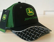 John Deere Black & Green Fabric Hat Cap w Chrome Diamond Plate Details on Bill