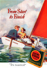 Andrew Loomis Lucky Strike Cigarettes SAILING Couple on Sailboat 1933 Print Ad