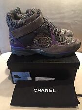 CHANEL High Top Runner Tweed Suede Gray & Purple Sneakers 41