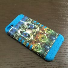 For iPod Touch 5th 6th Gen - HARD&SOFT HYBRID ARMOR SKIN CASE BLUE GREEN PEACOCK