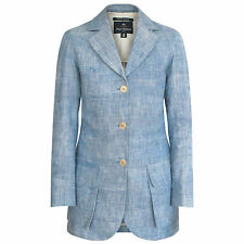 NIGEL CABOURN WOMAN long light blue linen blazer women's safari jacket 4-US/8-UK