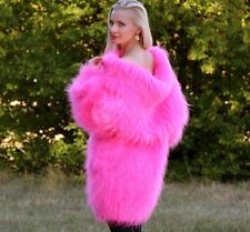 SUPERTANYA NEON PINK Hand Knitted Mohair Sweater Fuzzy Cowlneck Boutique Dress