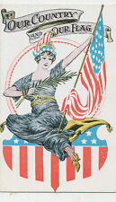 B6579 1910  POSTCARD PATRIOTIC 4TH OF JULY LADY LIBERTY
