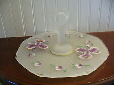 Vintage Hand Painted Frosted Glass Purple Iris Floral Motif Handled Hostess Tray