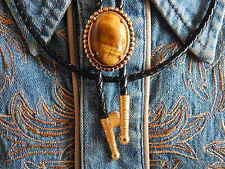 NEW HANDCRAFTED GOLDEN TIGERS EYE STONE BOLO TIE GOLD METAL,WESTERN,GOTH,COWBOY