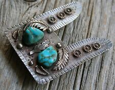 Vintage Foliate Navajo Native American Sterling Silver Turquoise Belt Buckle