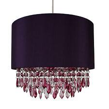 Purple Ceiling Light Pendant Shade w/ Chrome Inner - Plum & Clear Droplet Beads