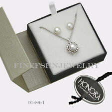 """Authentic Honora White Pearl Stud Earrings w/ Circle Pendant on 18"""" Chain 91861"""