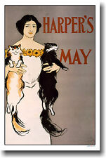 Harper's May Cover 1896 - Woman holding 2 Cats - POSTER