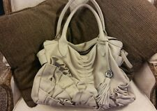 Vince Camuto Womens Cris Beige Ruffled Leather Satchel Handbag Purse X Large