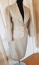 Bruce Oldfield designer 1992 metallic silver vintage retro suit skirt jacket 10