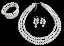 Wedding Bridal Jewelry Set Gift 3 Strand White Pearl Necklace Earrings Bracelet
