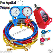 R134A AC A/C Manifold Gauge Set with Hoses and Air Vacuum Pump R134A R12 New