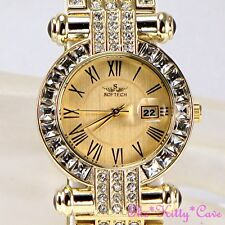 Gold Plated Bling Ladies Classic Date Display Dress Watch w/ Swarovski Crystals