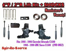 """1988 -1998 Chevy / GMC C15 C1500 C2500 2WD 6"""" / 3"""" Spindle Lift Kit + SHOCKS"""