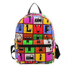 Chic Women Girl Canvas Print Backpack Shoulder Bag Bookbag Rucksack Travel Bag