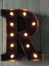 LED LIGHT CARNIVAL CIRCUS  RUST  METAL LETTER  R - WALL OR FREE STANDING 13INCH
