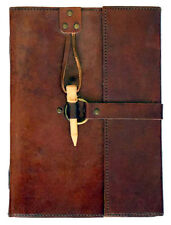 "Leather Handmade Blank Journal Diary Book Brass Ring Wooden Peg Closure 6"" x 8"""