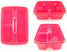 DELUXE CLEANER CARRY ALL TOTE TRAY HANDY STORAGE TOOL BOTTLE BASKET CADDY RED