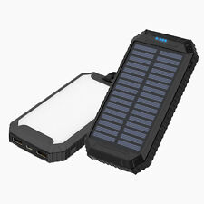 50000mAh Solar Panel Power Bank LED 2 USB Battery Charger For iPhone For Android
