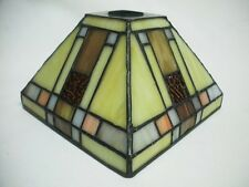 Mission Style Leaded Glass Square Lamp Shade Slag Tiffany Stained Panel Style