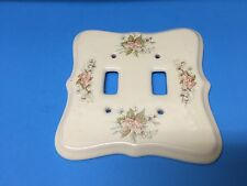 Porcelain Ceramic  PINK FLORAL Double Light Switch Plate Cover Vintage.