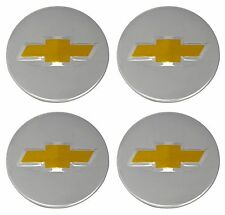 4Pcs 58mm Wheel Center Caps Chevy Bow Tie Emblem Logo Silver 2 1/4""