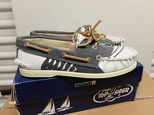 Sperry Top Siders A/O Paint Navy Blue White Canvas Boat Shoes Deck 8 M New