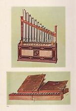 VINTAGE PRINT MUSICAL INSTRUMENTS PORTABLE ORGAN AND BIBLE REGAL