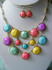 PASTEL BUBBLE NECKLACE AND EARRINGS IN PINK, YELLOW, MINT, PURPLE AND MORE