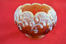 Vintage Fenton Lily Of The Valley Opalescent Amber Glass Bowl Rose