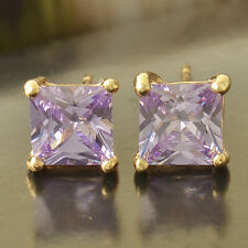NEW Purple Cubic Zirconia Yellow Gold Filled Womens Square Stud Earrings earings