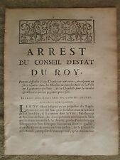 ARRET DU ROY 1731 : DEFENSE AUX CHANDELIERS DE COLPORTER DE LA CHANDELLE A PARIS